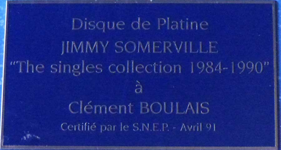 Jimmy Somerville France Platin Award Disk